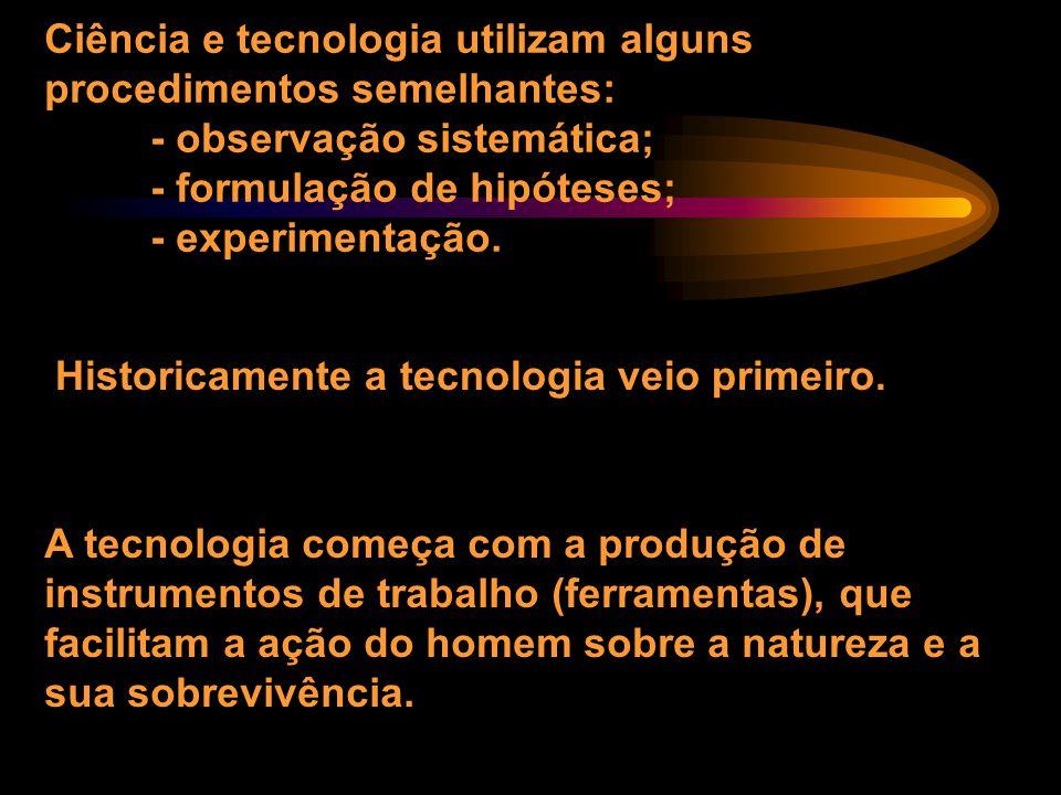 Mas, afinal, o que é mesmo ciência? Ciência = Tecnologia? O mundo moderno, com seus recursos e utilidades, em grande parte resultado da investigação c