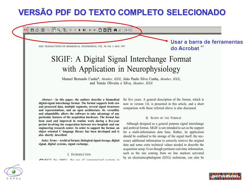VERSÃO PDF DO TEXTO COMPLETO SELECIONADO Usar a barra de ferramentas do Acrobat