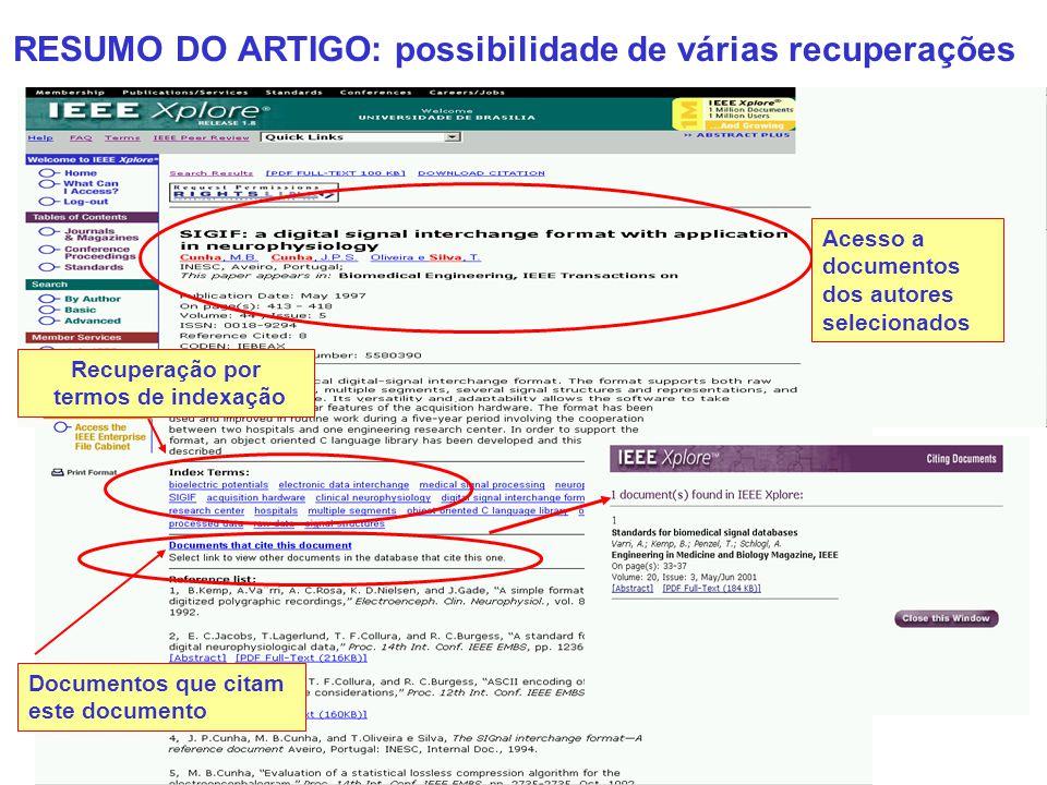 RESUMO DO ARTIGO: possibilidade de várias recuperações Acesso a documentos dos autores selecionados Documentos que citam este documento Recuperação po