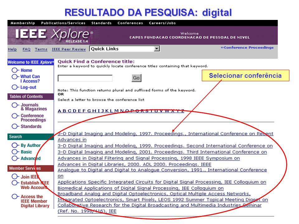 RESULTADO DA PESQUISA: digital Selecionar conferência