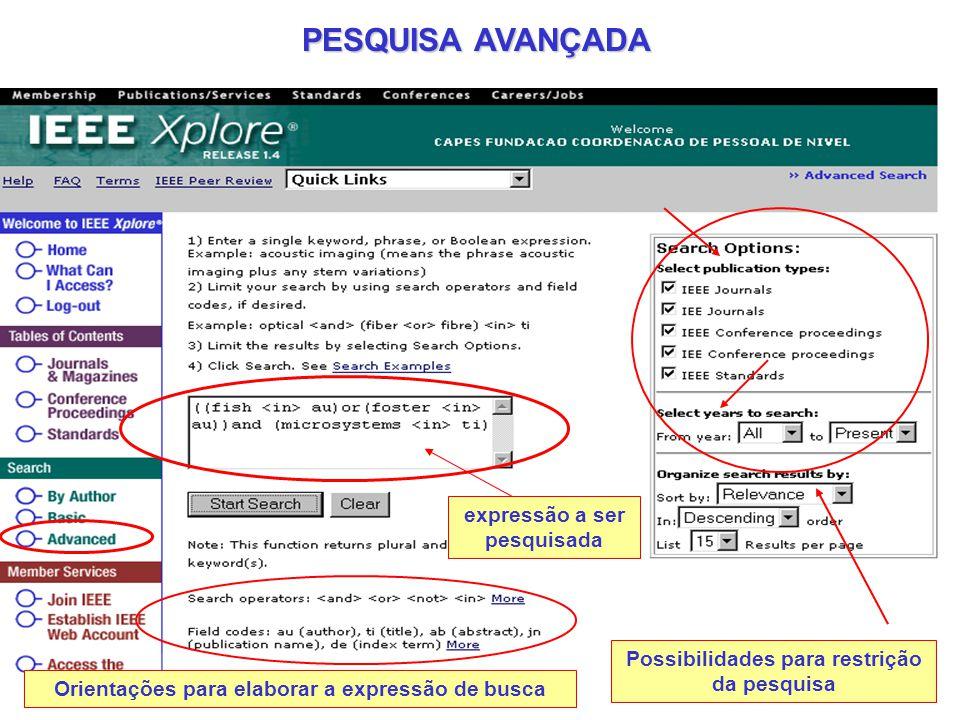 PESQUISA AVANÇADA expressão a ser pesquisada Possibilidades para restrição da pesquisa Orientações para elaborar a expressão de busca
