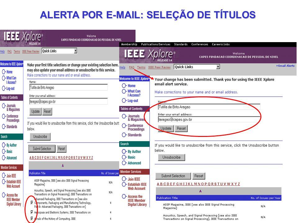 ALERTA POR E-MAIL: SELEÇÃO DE TÍTULOS
