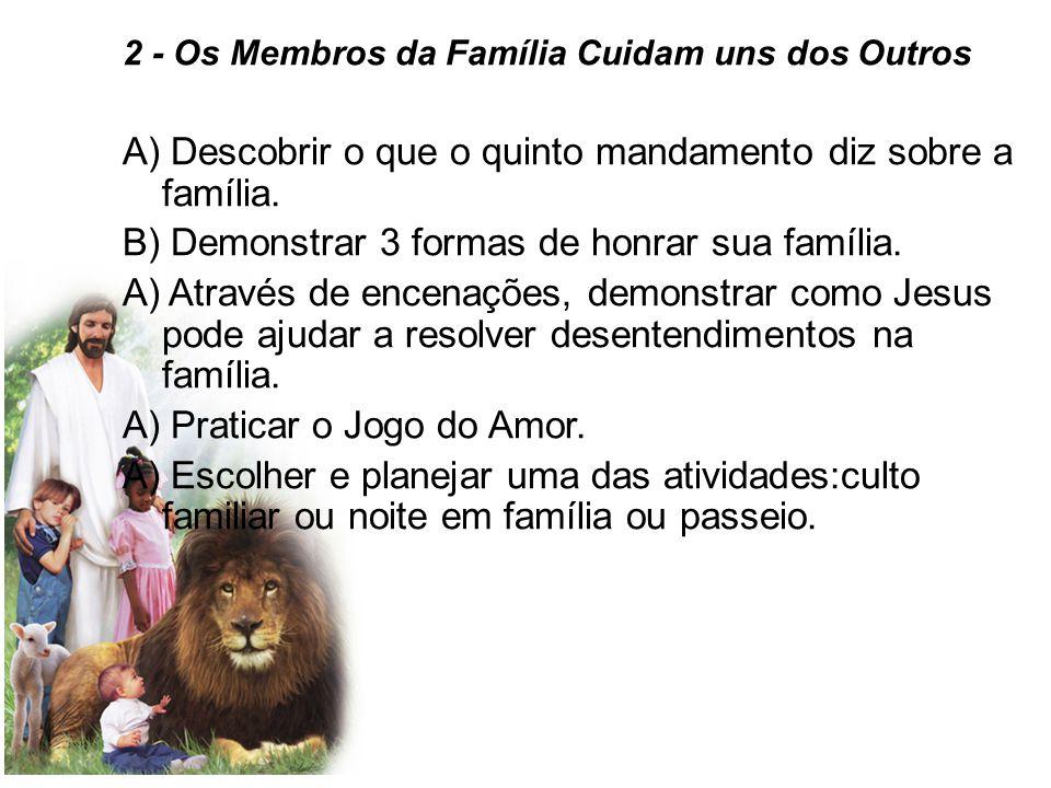 2 - Os Membros da Família Cuidam uns dos Outros A) Descobrir o que o quinto mandamento diz sobre a família.