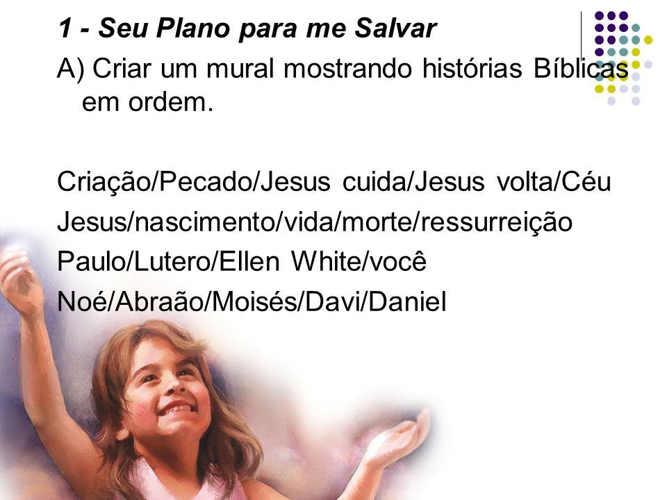 1 - Seu Plano para me Salvar B) Sobre as histórias acima Fazer um desenho (como Jesus cuida de nós).
