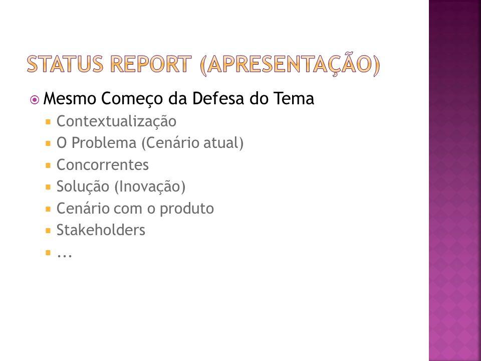  Mesmo Começo da Defesa do Tema  Contextualização  O Problema (Cenário atual)  Concorrentes  Solução (Inovação)  Cenário com o produto  Stakeho