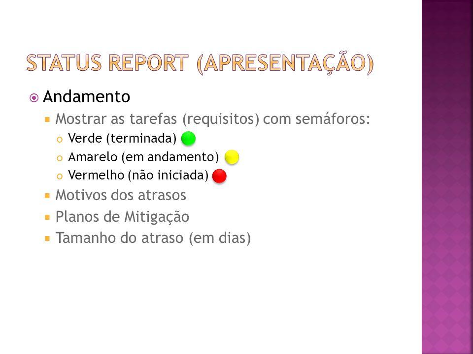  Andamento  Mostrar as tarefas (requisitos) com semáforos: Verde (terminada) Amarelo (em andamento) Vermelho (não iniciada)  Motivos dos atrasos  Planos de Mitigação  Tamanho do atraso (em dias)