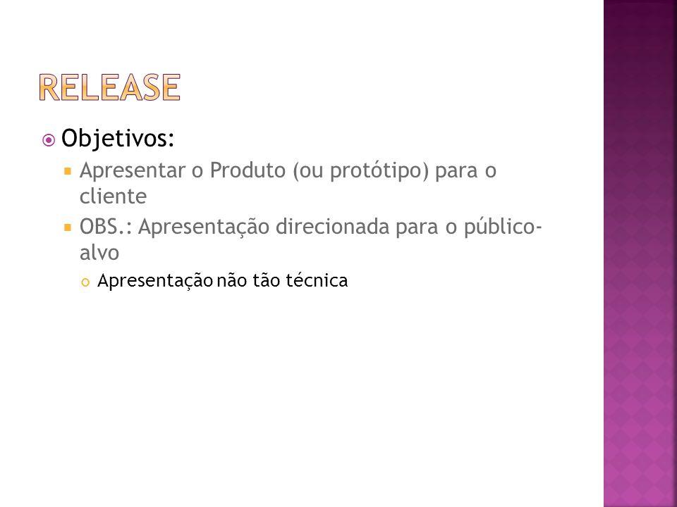  Objetivos:  Apresentar o Produto (ou protótipo) para o cliente  OBS.: Apresentação direcionada para o público- alvo Apresentação não tão técnica