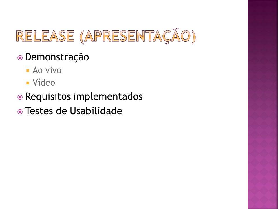  Demonstração  Ao vivo  Vídeo  Requisitos implementados  Testes de Usabilidade
