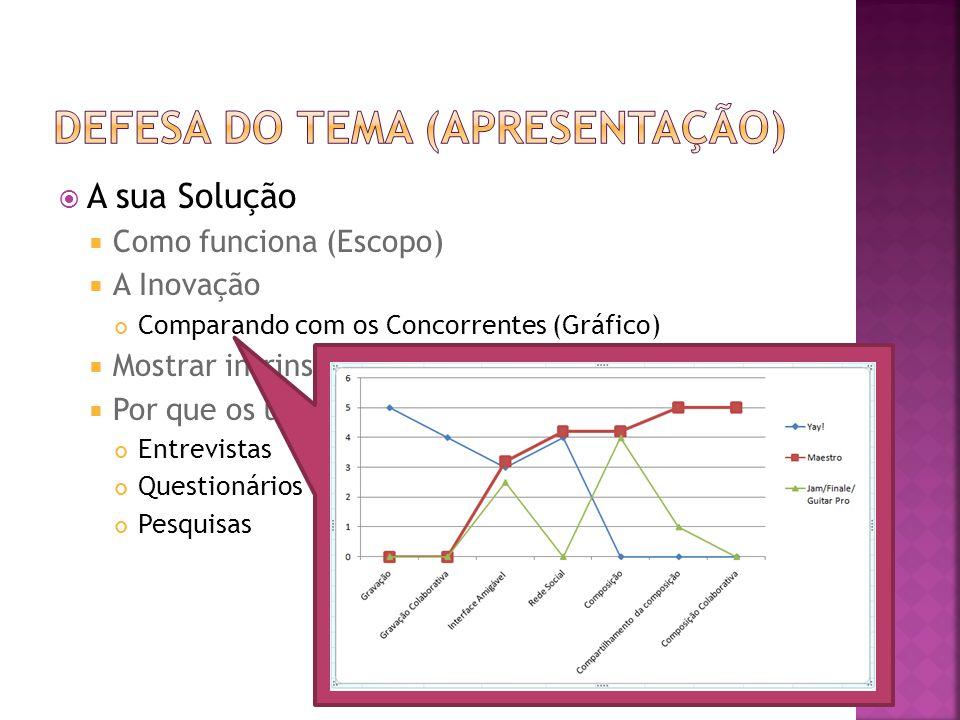  A sua Solução  Como funciona (Escopo)  A Inovação Comparando com os Concorrentes (Gráfico)  Mostrar intrinsecamente os desafios tecnológicos  Po
