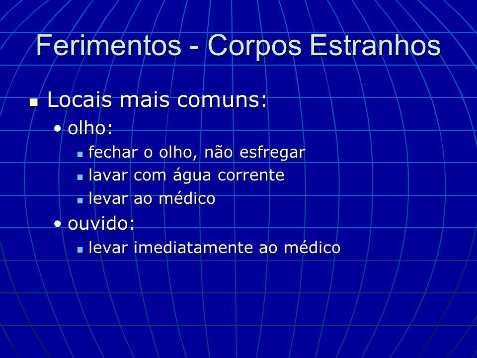 Ferimentos - Corpos Estranhos Locais mais comuns: Locais mais comuns: olho:olho: fechar o olho, não esfregar fechar o olho, não esfregar lavar com águ