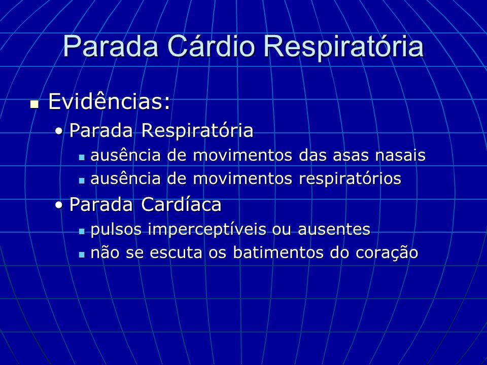 Parada Cárdio Respiratória Evidências: Evidências: Parada RespiratóriaParada Respiratória ausência de movimentos das asas nasais ausência de movimento