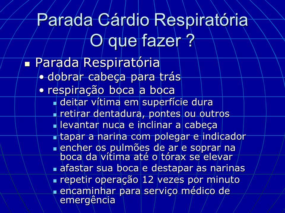 Parada Cárdio Respiratória O que fazer ? Parada Respiratória Parada Respiratória dobrar cabeça para trásdobrar cabeça para trás respiração boca a boca