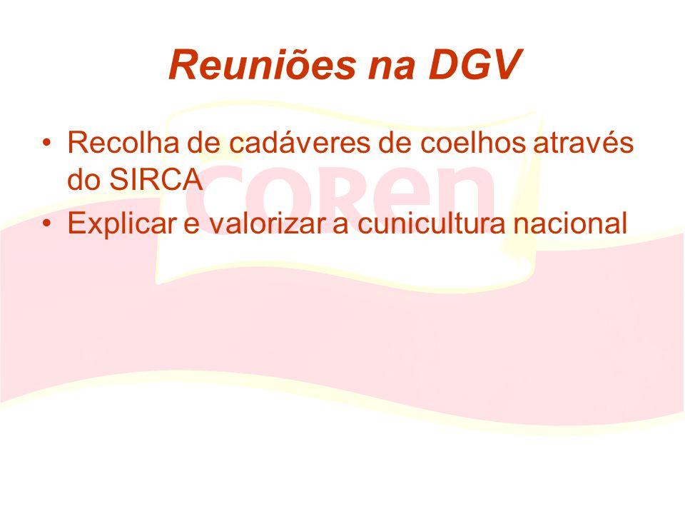 Reuniões na DGV Recolha de cadáveres de coelhos através do SIRCA Explicar e valorizar a cunicultura nacional