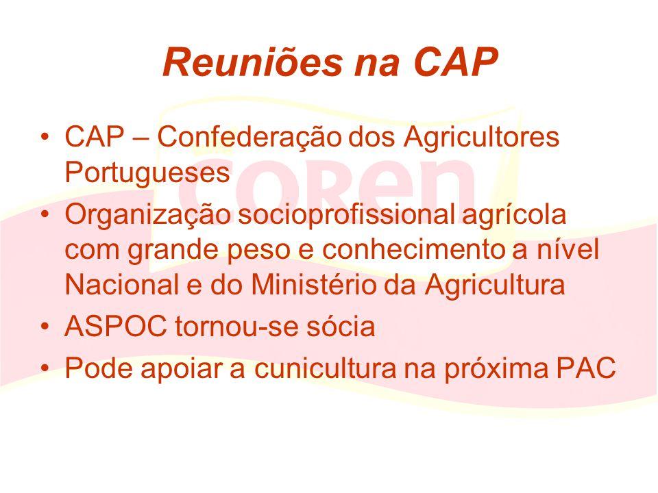 Reuniões na CAP CAP – Confederação dos Agricultores Portugueses Organização socioprofissional agrícola com grande peso e conhecimento a nível Nacional