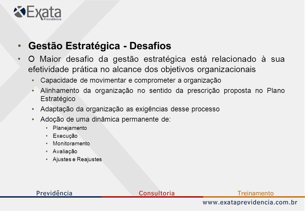 Gestão Estratégica - Desafios O Maior desafio da gestão estratégica está relacionado à sua efetividade prática no alcance dos objetivos organizacionais Capacidade de movimentar e comprometer a organização Alinhamento da organização no sentido da prescrição proposta no Plano Estratégico Adaptação da organização as exigências desse processo Adoção de uma dinâmica permanente de: Planejamento Execução Monitoramento Avaliação Ajustes e Reajustes