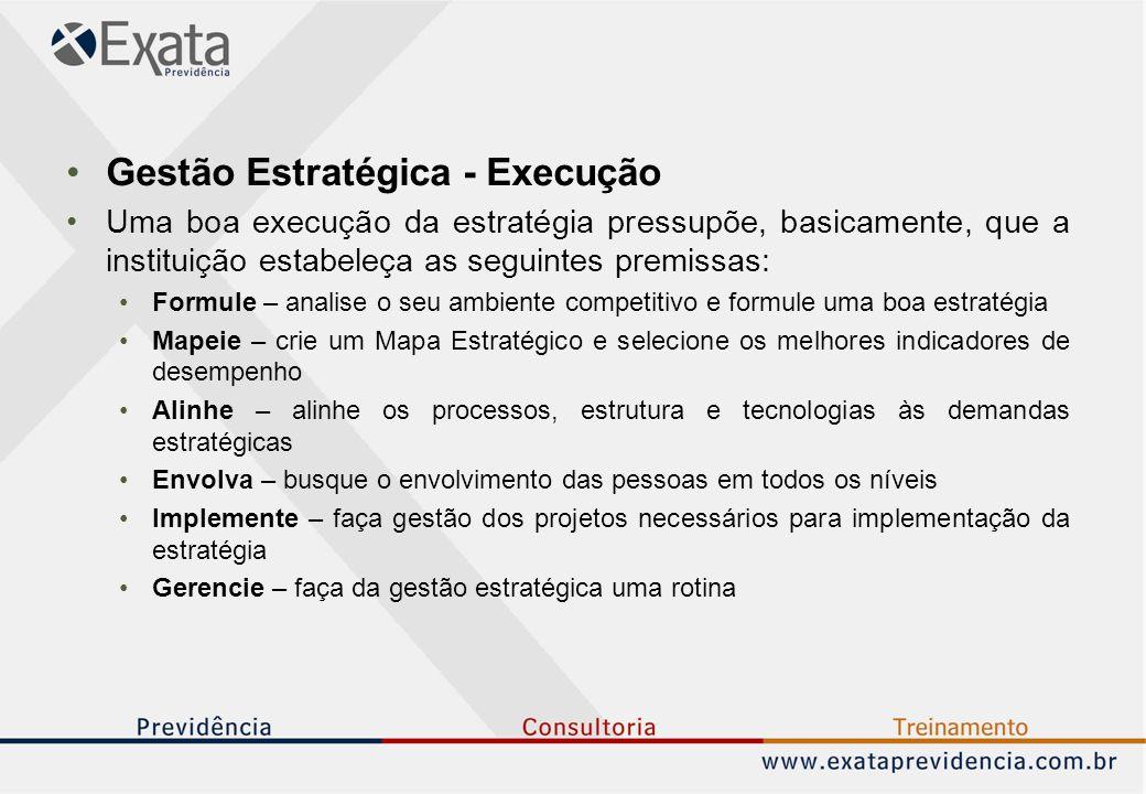 Gestão Estratégica - Execução Uma boa execução da estratégia pressupõe, basicamente, que a instituição estabeleça as seguintes premissas: Formule – analise o seu ambiente competitivo e formule uma boa estratégia Mapeie – crie um Mapa Estratégico e selecione os melhores indicadores de desempenho Alinhe – alinhe os processos, estrutura e tecnologias às demandas estratégicas Envolva – busque o envolvimento das pessoas em todos os níveis Implemente – faça gestão dos projetos necessários para implementação da estratégia Gerencie – faça da gestão estratégica uma rotina