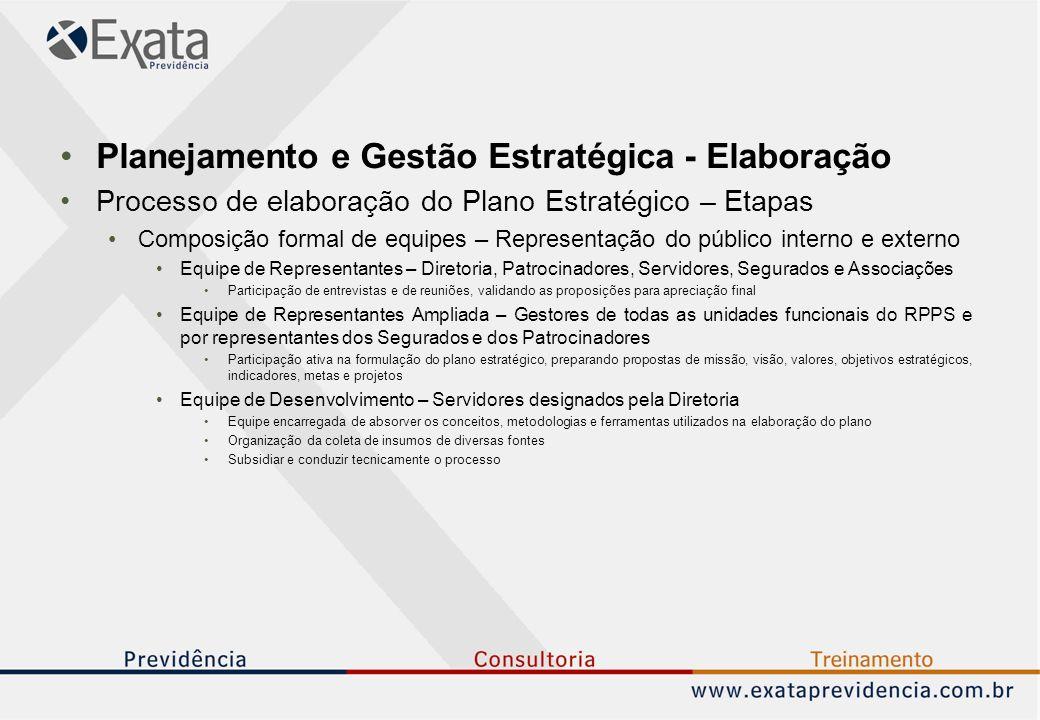 Planejamento e Gestão Estratégica - Elaboração Processo de elaboração do Plano Estratégico – Etapas Composição formal de equipes – Representação do pú
