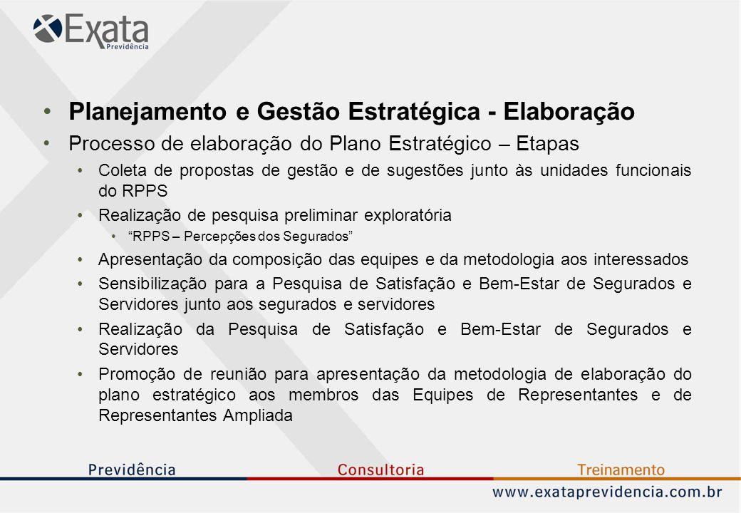 Planejamento e Gestão Estratégica - Elaboração Processo de elaboração do Plano Estratégico – Etapas Coleta de propostas de gestão e de sugestões junto às unidades funcionais do RPPS Realização de pesquisa preliminar exploratória RPPS – Percepções dos Segurados Apresentação da composição das equipes e da metodologia aos interessados Sensibilização para a Pesquisa de Satisfação e Bem-Estar de Segurados e Servidores junto aos segurados e servidores Realização da Pesquisa de Satisfação e Bem-Estar de Segurados e Servidores Promoção de reunião para apresentação da metodologia de elaboração do plano estratégico aos membros das Equipes de Representantes e de Representantes Ampliada
