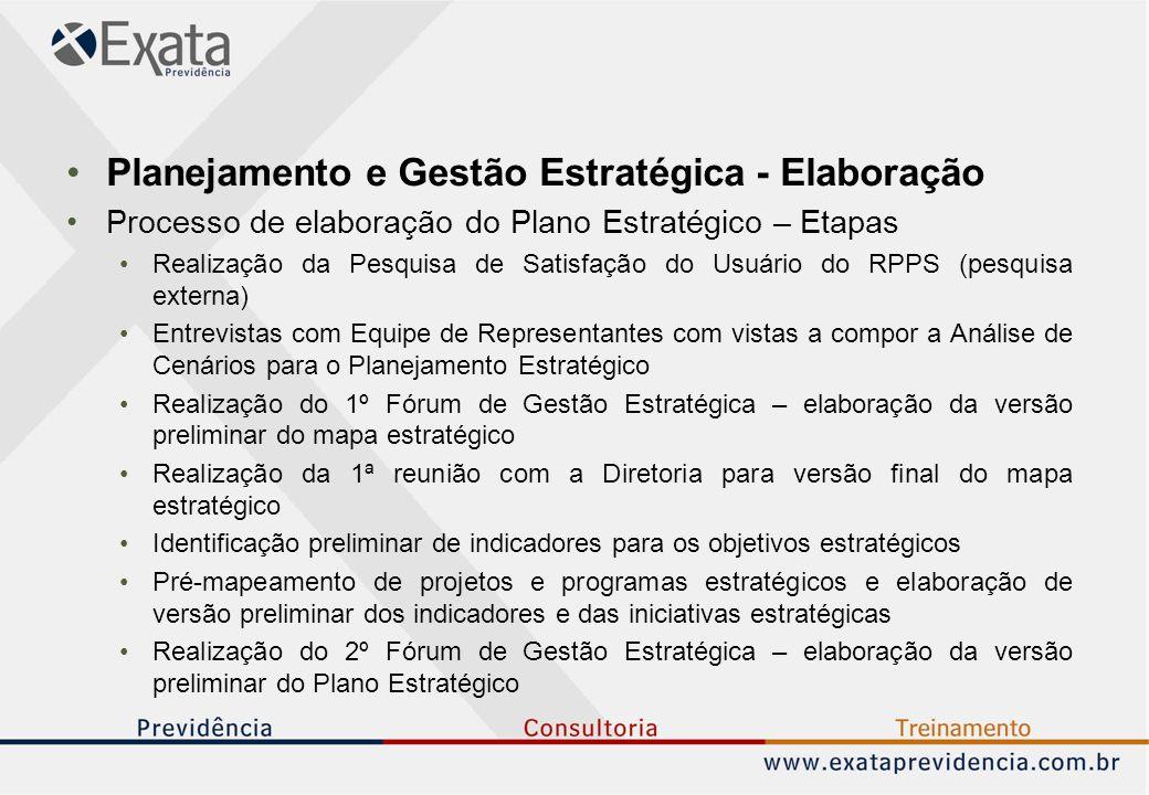 Planejamento e Gestão Estratégica - Elaboração Processo de elaboração do Plano Estratégico – Etapas Realização da Pesquisa de Satisfação do Usuário do RPPS (pesquisa externa) Entrevistas com Equipe de Representantes com vistas a compor a Análise de Cenários para o Planejamento Estratégico Realização do 1º Fórum de Gestão Estratégica – elaboração da versão preliminar do mapa estratégico Realização da 1ª reunião com a Diretoria para versão final do mapa estratégico Identificação preliminar de indicadores para os objetivos estratégicos Pré-mapeamento de projetos e programas estratégicos e elaboração de versão preliminar dos indicadores e das iniciativas estratégicas Realização do 2º Fórum de Gestão Estratégica – elaboração da versão preliminar do Plano Estratégico