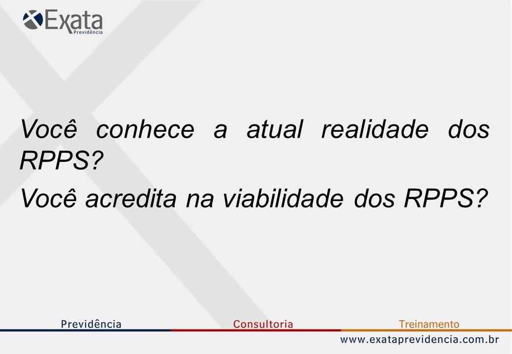Você conhece a atual realidade dos RPPS? Você acredita na viabilidade dos RPPS?