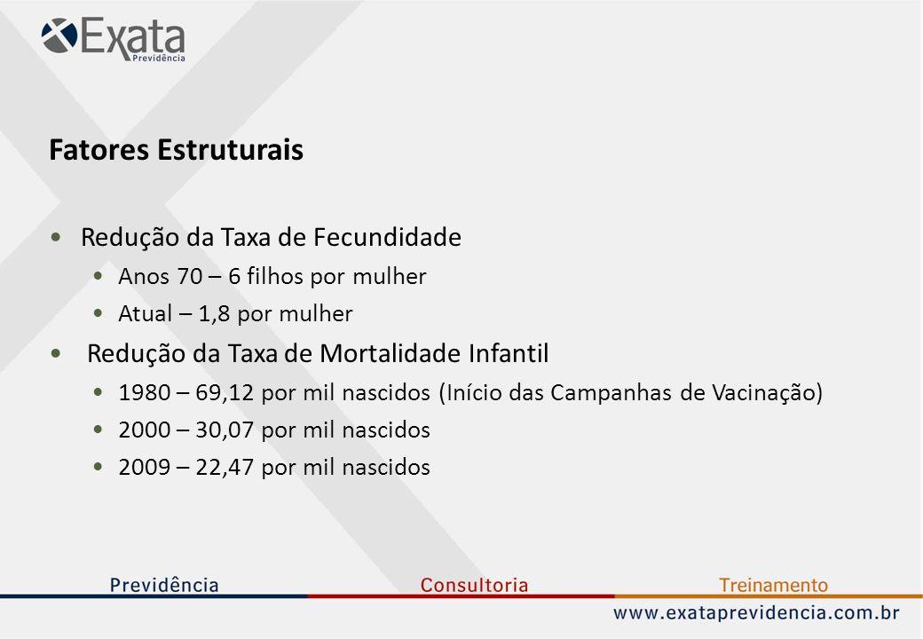 Fatores Estruturais Redução da Taxa de Fecundidade Anos 70 – 6 filhos por mulher Atual – 1,8 por mulher Redução da Taxa de Mortalidade Infantil 1980 –