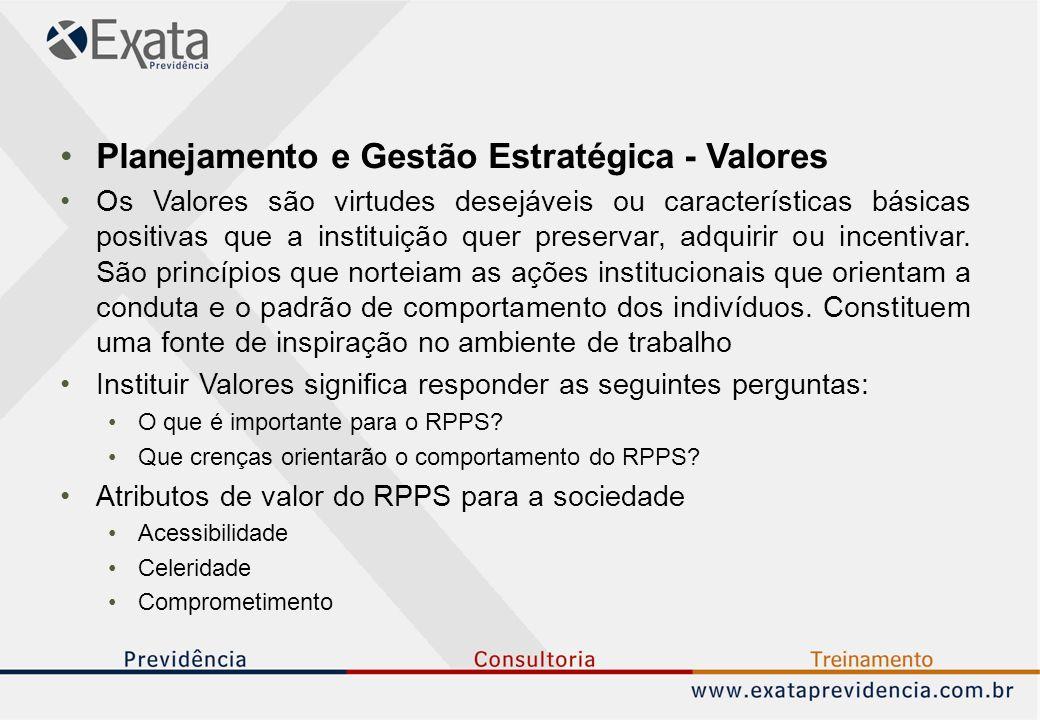 Planejamento e Gestão Estratégica - Valores Os Valores são virtudes desejáveis ou características básicas positivas que a instituição quer preservar, adquirir ou incentivar.