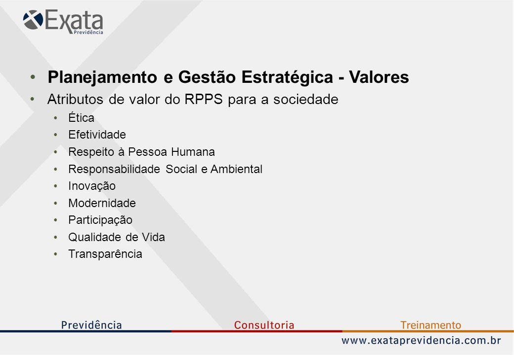 Planejamento e Gestão Estratégica - Valores Atributos de valor do RPPS para a sociedade Ética Efetividade Respeito à Pessoa Humana Responsabilidade Social e Ambiental Inovação Modernidade Participação Qualidade de Vida Transparência