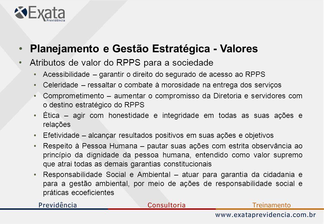 Planejamento e Gestão Estratégica - Valores Atributos de valor do RPPS para a sociedade Acessibilidade – garantir o direito do segurado de acesso ao R