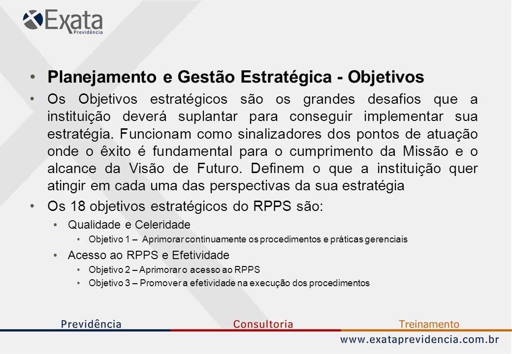 Planejamento e Gestão Estratégica - Objetivos Os Objetivos estratégicos são os grandes desafios que a instituição deverá suplantar para conseguir implementar sua estratégia.