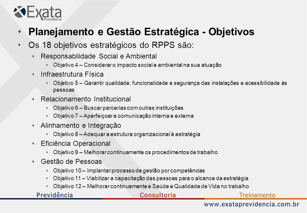 Planejamento e Gestão Estratégica - Objetivos Os 18 objetivos estratégicos do RPPS são: Responsabilidade Social e Ambiental Objetivo 4 – Considerar o