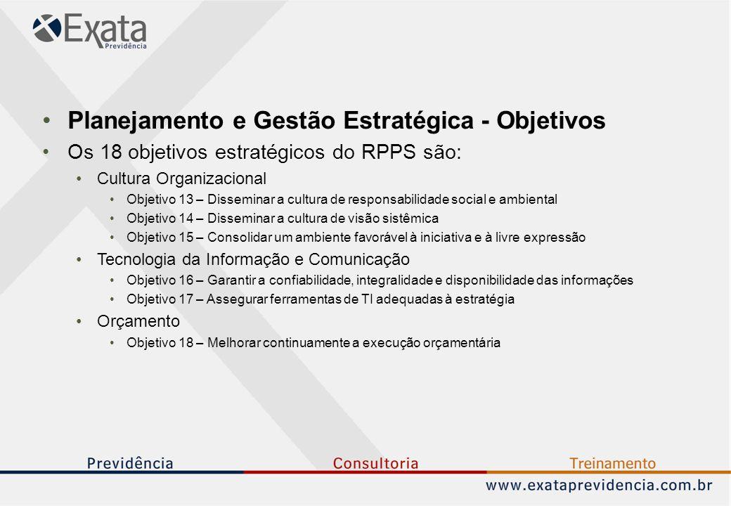 Planejamento e Gestão Estratégica - Objetivos Os 18 objetivos estratégicos do RPPS são: Cultura Organizacional Objetivo 13 – Disseminar a cultura de r
