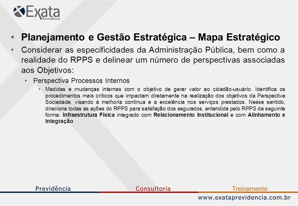 Planejamento e Gestão Estratégica – Mapa Estratégico Considerar as especificidades da Administração Pública, bem como a realidade do RPPS e delinear um número de perspectivas associadas aos Objetivos: Perspectiva Processos Internos Medidas e mudanças internas com o objetivo de gerar valor ao cidadão-usuário.