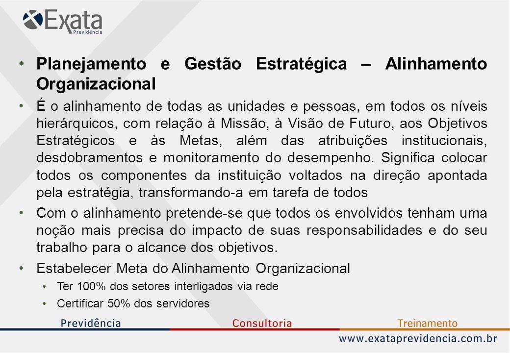 Planejamento e Gestão Estratégica – Alinhamento Organizacional É o alinhamento de todas as unidades e pessoas, em todos os níveis hierárquicos, com relação à Missão, à Visão de Futuro, aos Objetivos Estratégicos e às Metas, além das atribuições institucionais, desdobramentos e monitoramento do desempenho.