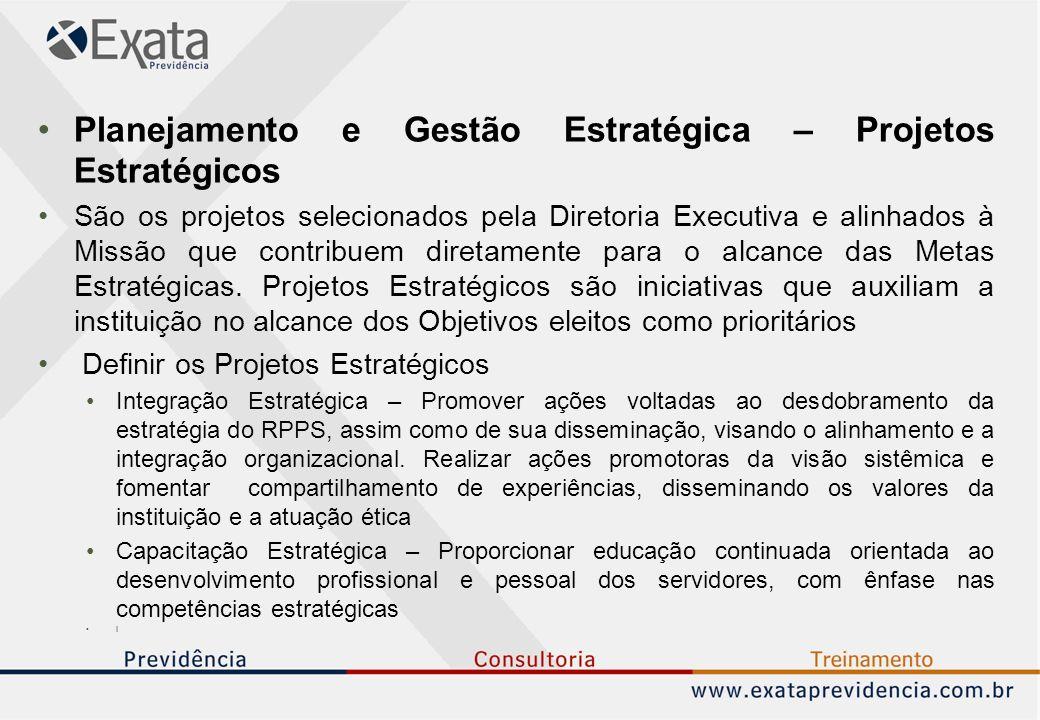 Planejamento e Gestão Estratégica – Projetos Estratégicos São os projetos selecionados pela Diretoria Executiva e alinhados à Missão que contribuem diretamente para o alcance das Metas Estratégicas.