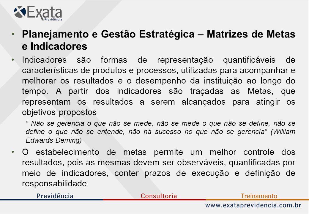Planejamento e Gestão Estratégica – Matrizes de Metas e Indicadores Indicadores são formas de representação quantificáveis de características de produtos e processos, utilizadas para acompanhar e melhorar os resultados e o desempenho da instituição ao longo do tempo.