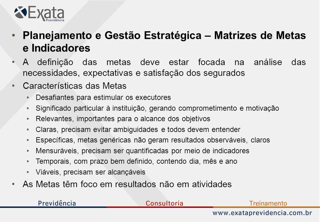 Planejamento e Gestão Estratégica – Matrizes de Metas e Indicadores A definição das metas deve estar focada na análise das necessidades, expectativas