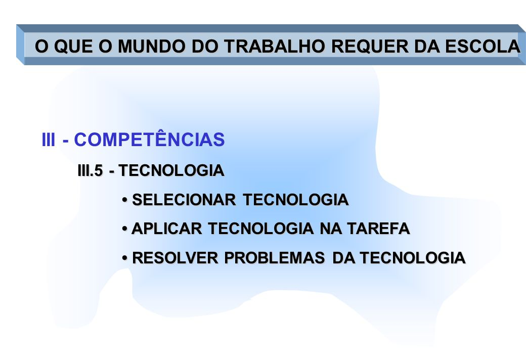 III - COMPETÊNCIAS III.5 - TECNOLOGIA SELECIONAR TECNOLOGIA SELECIONAR TECNOLOGIA APLICAR TECNOLOGIA NA TAREFA APLICAR TECNOLOGIA NA TAREFA RESOLVER P