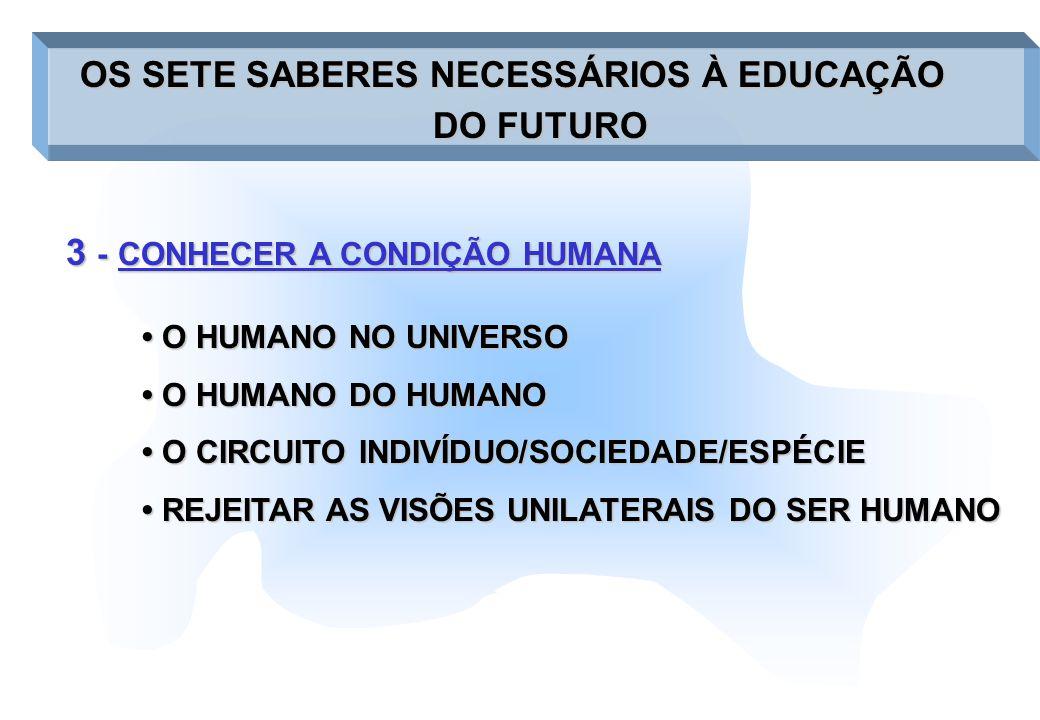 3 -CONHECER A CONDIÇÃO HUMANA 3 - CONHECER A CONDIÇÃO HUMANA OS SETE SABERES NECESSÁRIOS À EDUCAÇÃO OS SETE SABERES NECESSÁRIOS À EDUCAÇÃO DO FUTURO O