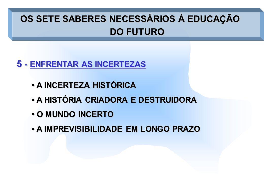 5 -ENFRENTAR AS INCERTEZAS 5 - ENFRENTAR AS INCERTEZAS OS SETE SABERES NECESSÁRIOS À EDUCAÇÃO OS SETE SABERES NECESSÁRIOS À EDUCAÇÃO DO FUTURO A INCER