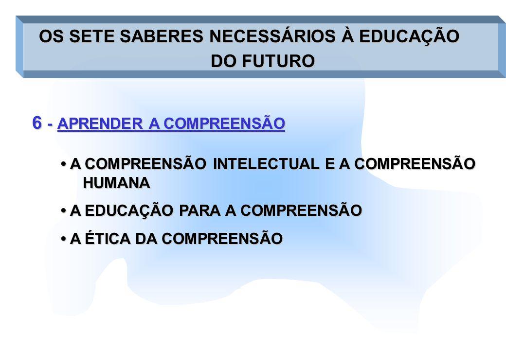 6 -APRENDER A COMPREENSÃO 6 - APRENDER A COMPREENSÃO OS SETE SABERES NECESSÁRIOS À EDUCAÇÃO OS SETE SABERES NECESSÁRIOS À EDUCAÇÃO DO FUTURO A COMPREE