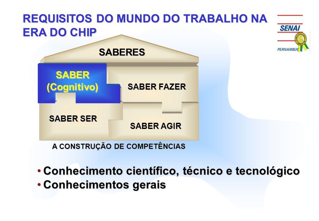 SABERES SABER SER SABER FAZER SABER AGIR SABER SABERES SABER SER SABER FAZER SABER AGIR SABER A CONSTRUÇÃO DE COMPETÊNCIAS Conhecimento científico, té