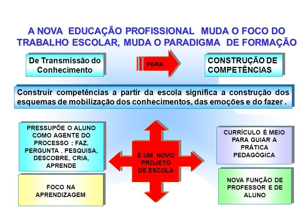 A NOVA EDUCAÇÃO PROFISSIONAL MUDA O FOCO DO TRABALHO ESCOLAR, MUDA O PARADIGMA DE FORMAÇÃO De Transmissão do Conhecimento PARA CONSTRUÇÃO DE COMPETÊNC
