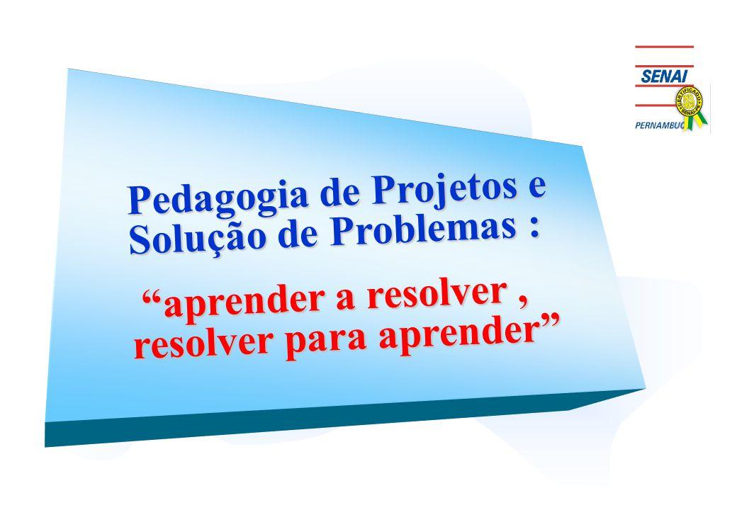 """Pedagogia de Projetos e Solução de Problemas : """"aprender a resolver, resolver para aprender"""" """"aprender a resolver, resolver para aprender"""""""