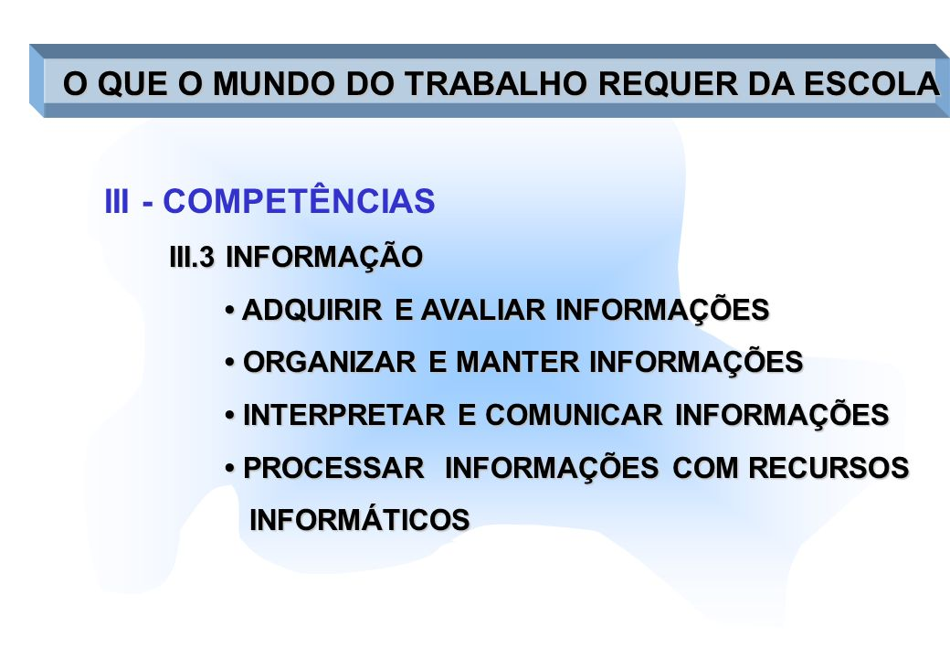 III - COMPETÊNCIAS III.4 - SISTEMAS COMPREENDER SISTEMAS COMPREENDER SISTEMAS MONITORAR E CORRIGIR DESEMPENHO DE MONITORAR E CORRIGIR DESEMPENHO DE SISTEMAS SISTEMAS APERFEIÇOAR E ELABORAR SISTEMAS APERFEIÇOAR E ELABORAR SISTEMAS O QUE O MUNDO DO TRABALHO REQUER DA ESCOLA