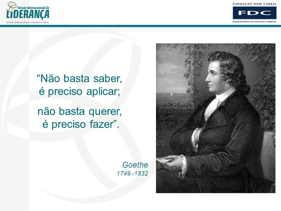 Não basta saber, é preciso aplicar; não basta querer, é preciso fazer . Goethe 1749 -1832