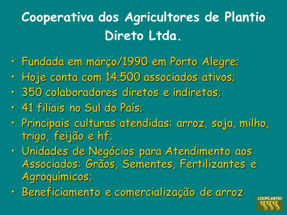 Cooperativa dos Agricultores de Plantio Direto Ltda. Fundada em março/1990 em Porto Alegre;Fundada em março/1990 em Porto Alegre; Hoje conta com 14.50