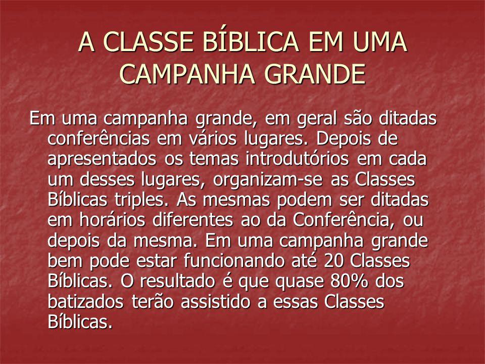 A CLASSE BÍBLICA EM UMA CAMPANHA GRANDE Em uma campanha grande, em geral são ditadas conferências em vários lugares. Depois de apresentados os temas i