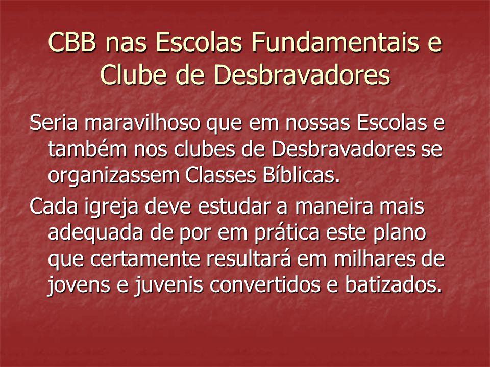 CBB nas Escolas Fundamentais e Clube de Desbravadores Seria maravilhoso que em nossas Escolas e também nos clubes de Desbravadores se organizassem Cla