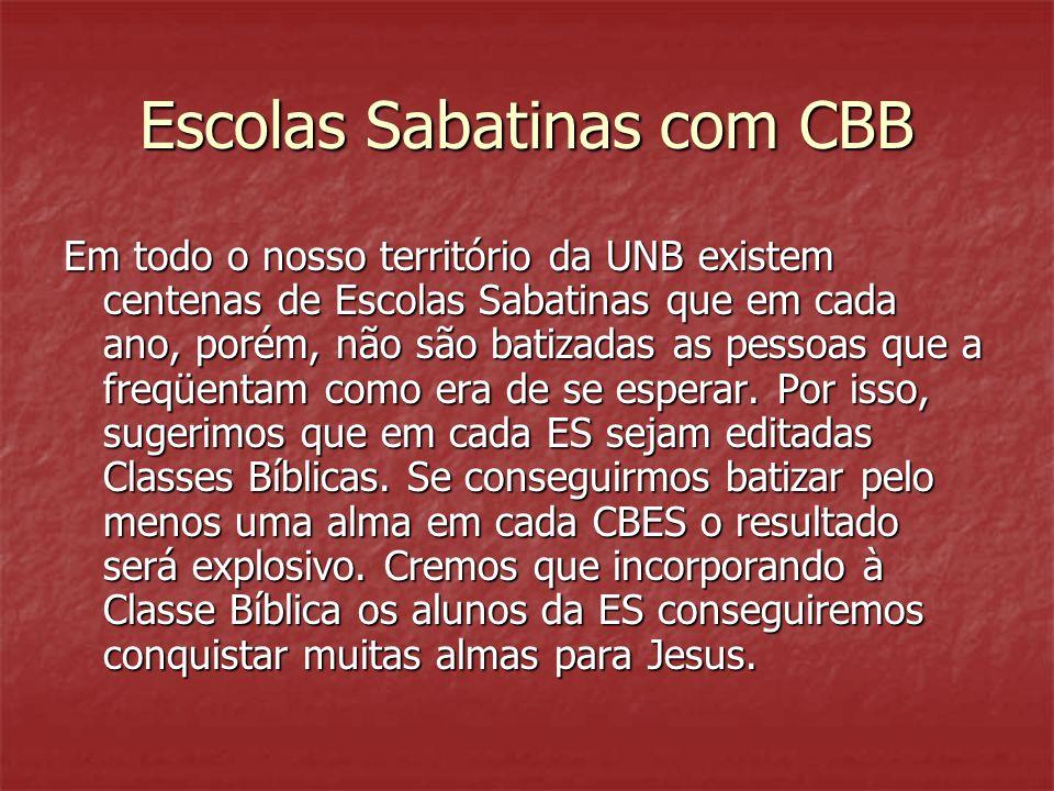 Escolas Sabatinas com CBB Em todo o nosso território da UNB existem centenas de Escolas Sabatinas que em cada ano, porém, não são batizadas as pessoas