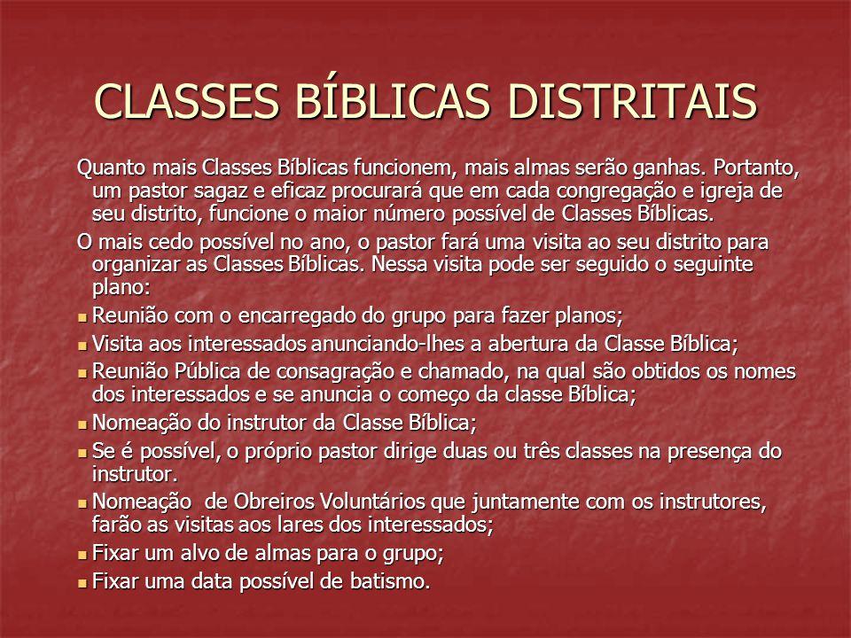 CLASSES BÍBLICAS DISTRITAIS Quanto mais Classes Bíblicas funcionem, mais almas serão ganhas. Portanto, um pastor sagaz e eficaz procurará que em cada